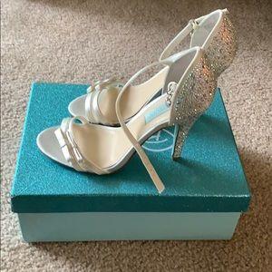 Betsey Johnson Satin White Jewel  Heels 7.5